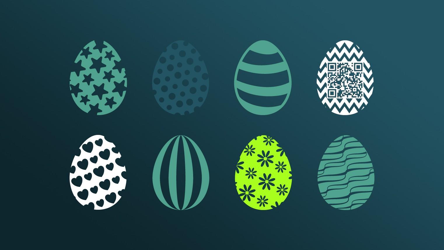 Verschiede Easter Eggs in buten Mustern