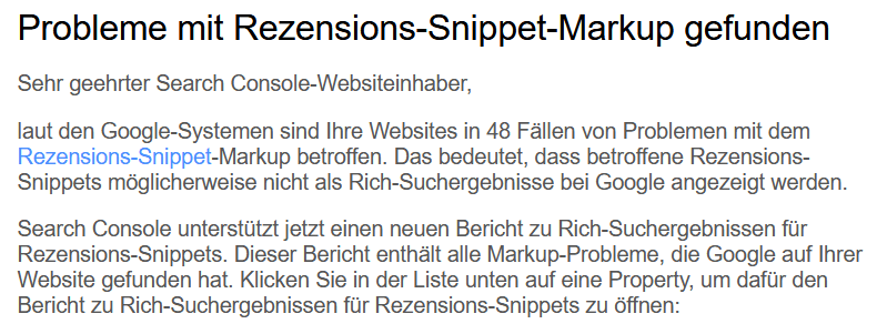 Mail Search Console Rezension Snippet